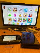 Nintendo Wii U Console With Gamepad Cords 10 Installed Hd Mario Games Tested