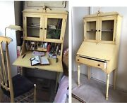 Antique Painted Wood Secretary Desk With Lite And Drawers Us Made By North-western