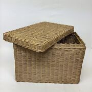 """Wicker Portable Hanging File Box 18""""l 12"""" H 11""""w Storage Filing Letters"""