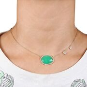 Chrysoprase Gemstone Natural Diamond Solid Yellow 14k Gold Necklace