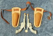 Vintage Set Of Hubley Smoky Toy Cap Guns / Pistols With Leather Holsters
