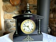 Antique Ansonia Enamel Iron Mantel Clock And Key 8 Day Wind Chimes Runs Perfectly