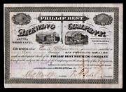 1873 Fred Pabst Signs Rare Stock Certificate - Blue Ribbon Beer - Philip Best