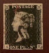 Sg2 1840 1d Penny Black With Black Mx And Part Red Cds Cat . Very Rare