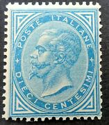 Italy 1877 Sg 21 10c Blue A Rare Unmounted Mint Example Sassone Sa27 Andpound9000