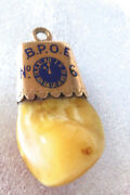 Vintage To Antique 14k Yellow Gold W Enamel Elkand039s Tooth Elks Lodge Watch Fob