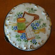 Limoges France Hand Painted Round Trinket Box Musical Instruments Andblue Flowers