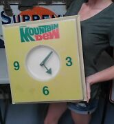 Vintage 1970andrsquos Mountain Dew Lighted Clock Works Advertising Soda Sign Pepsi