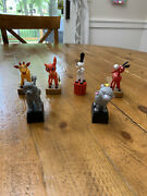 Vintage Rare British Patent Animal Gumby Button Push Puppet Dancing Lot Of 6