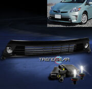 For 12-15 Toyota Prius Bumper Driving Chrome Fog Light+grille W/8000k Hid+switch
