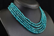 480 Cts Natural 4 Strand Blue Apatite Beads Womens Necklace Jewelry Jk 07k614