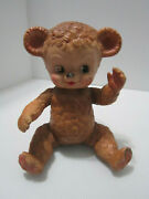 Sun Rubber Company Sunny The Bear Jointed Squeak Toy Brown Vintage 1958
