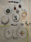 Mexican Sterling Silver Vintage Jewelry Lot 19 Large And Heavy Pcs.