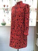Laura Ashley Vintage Mid 60and039s Tunic Dress Wales Red Blue Gogo Abstract Size 14