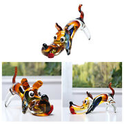 Blow Glass Dog Figurines Cartoon Crystal Sculpture Gift Table Decor Model
