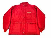 Vintage Conoco Gas Red Puffy Button Up Winter Swingster Large Jacket Coat