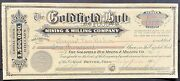 1906 Goldfield Hub Mining And Milling Co. Stock Certificate Nevada