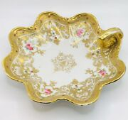 Antique Rc Noritake Nippon Hand Painted Roses Moriage Jeweled Candy Dish Bowl