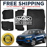 Smartliner All Weather 1st 2nd And Cargo Floor Mats Black For 2013-20 Ford Escape