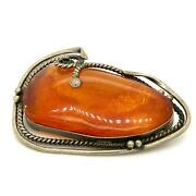 Antique Sterling Silver Art Deco Chunky Baltic Amber Cabochon Stone Brooch Pin