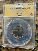 1926 Far 6 - Anacs Graded Vf20 Details Key Date Canada 5c Nickel Five Cents