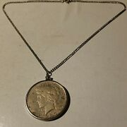 1923 Peace Silver Dollar Necklace Pendant Liberty Jewelry In Bezel 18