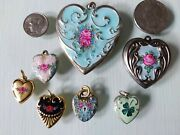 7 Vintage / Victorian Style Enamel Puffy Heart Charms