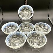 Antique Victor By Dugan Northwood Glass Co. Set Of 6 Opalescent Berry Bowls Eapg