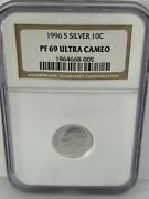 1996 S San Francisco Mint 10c Roosevelt Silver Proof Dime - Ngc Pf69 Ultra Cam