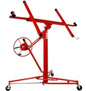 New 11and039 Drywall Lifter Panel Hoist Jack Rolling Caster Construction Lockable Red