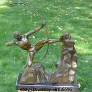 Western Bronze Marble Naked Man Mountaineering Bow Statue Art Deco Sculpture