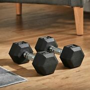 15lbs/single Rubber Dumbbell Weight Set In Pair For Home Cardio Exercise