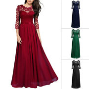 Plus Dress Cocktail Ladies S-2xl Long Gift Womens Lace Size Christmas Size Party