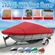 11-22ft 210d Heavy Duty Waterproof Trailerable V-hull Boat Cover Fishing 5-color