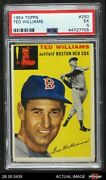 1954 Topps 250 Ted Williams Red Sox Psa 5 - Ex