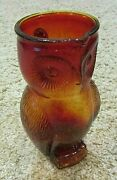 Amber Colored Owl Themed Glass Pitcher, 8 1/2 Tall