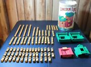 Original Lincoln Logs Frontier Fort 75 Wood Pieces W/container 00905 Free Ship
