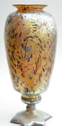 Gold Luster Cypriote Vase With Swirl Design . Blown Glass By Saul Alcaraz
