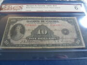 1935 Canada French 10 Dollar Banknote Graded Vg6 Bcs-nice Note-21-387