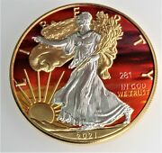 New 2021 1 Oz .999 Silver Gold Gild Sunset American Eagle W/ Coa And Ogp