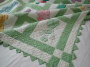 Sweet Vintage 30s Green Sunbonnet Sue And Overall Sam Applique Quilt 80x58