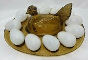 Le Smith Amber Glass Hen On Nest Egg Plate W/blown Glass Eggs 12.25l Vintage