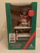 Vintage 1995 Animated Musical Holiday Scene Mrs Claus W/ Wood Spoon And Bowlrare