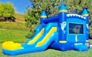 Commercial Inflatable Combo Bounce House Dolphin Slide Pvc Pool With 1hp Blower