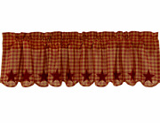 New Burgundy Star Window Valance Scalloped Edge Farmhouse Country Appliqued 60w