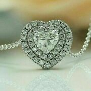 Engagement And Wedding Heart Halo Fine Pendant 14k White Gold Over 2.11 Ct Diamond