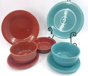 Fiestaware Turquoise Paprika Brown Blue Dinner Plates Bowl Salad Bread Choice