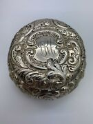 Antique Biglow Kennard And Co Sterling Silver Repousse Round Powder Jar With Lid