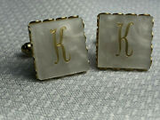 Vtg Square Shaped Letter K Mother Of Pearl/ Abalone Shell Menand039s Cuff Links