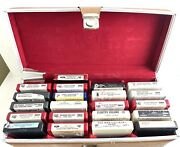 """Vintage Rca Carrying Case Holder 24 Slots With Rca Music Tapes 17""""lx7""""wx7""""d"""